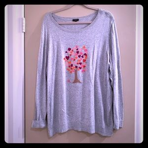 Talbots Crewneck Lightweight Heart/Tree Sweater